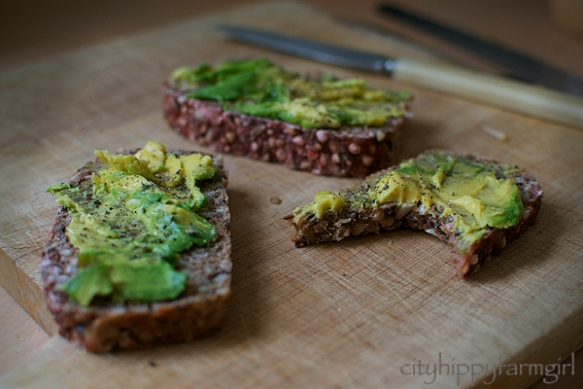 essene bread with avocado