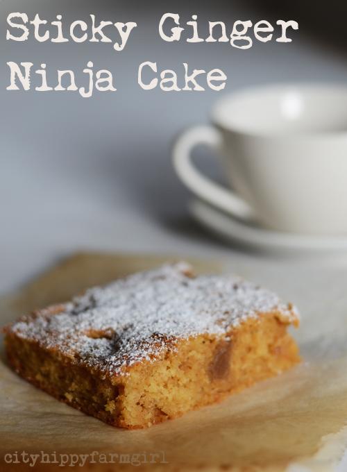 sticky ginger ninja cake || cityhippyfarmgirl