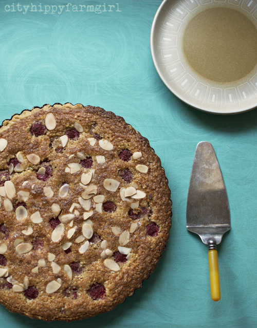 Raspberry Bakewell Tart recipe || cityhippyfarmgirl